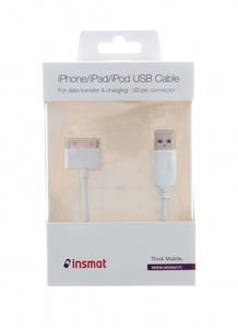 INSMAT iPhone 3/4/4S, iPad/ iPad2 USB cable Wht (133-9903)