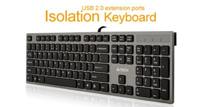 A4TECH Keyboard KV-300H Grey USB, US (A4TKLA39976)
