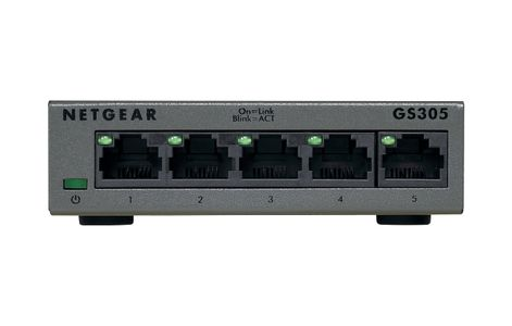 NETGEAR 5-PORT GIGABIT SWITCH FANLESS FOR SMB METAL HOUSING/ DESKTOP    IN PERP (GS305-100PES)