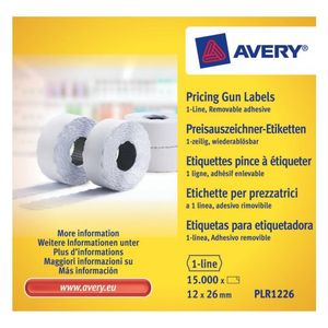AVERY Labels on Roll  for 1 line pricing gun Remv. White (8D/1L) 26 x 12 mm (PLR1226)