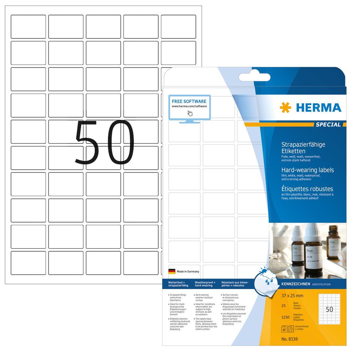 HERMA Etikett HERMA Folie hvid 37x25mm (25) (8338)