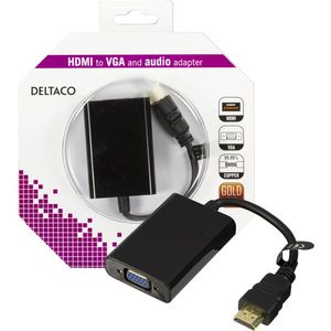 DELTACO HDMI til VGA-adapter,  19-pin ha - 15-pin+3, 5mm,  0,2m, svart (HDMI-VGA7-K)