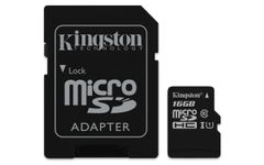KINGSTON 16GB MICROSDHC CANVAS SELECT 80R CL10 UHS-I CARD + SD ADAPTER EXT