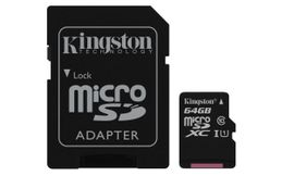 KINGSTON 64GB MICROSDXC CANVAS SELECT 80R CL10 UHS-I CARD + SD ADAPTER EXT