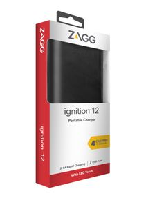 ZAGG / INVISIBLESHIELD ZAGG Ignition 12,000 mAh Dual USB Portable Charger with Flash Light - External Battery Power Bank ? Black (IFIG12-BK0)