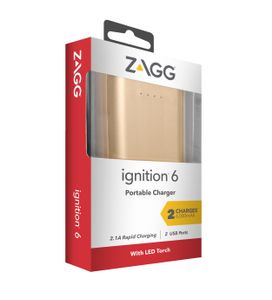 ZAGG / INVISIBLESHIELD ZAGG Ignition 6000 mAh Dual USB Portable Charger with Flash Light - External Battery Power Bank ? Gold (IFIGN6-GD0)