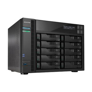 ASUSTOR NAS, 10 Bay, Intel Core I3 3,5 Ghz Dual Core 2GB DDR3 GbEx2, (AS-7010T)
