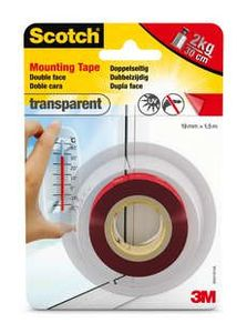 3M Scotch dobbeltkæbende skumtape transparent 19mmx1,5m (40041915)