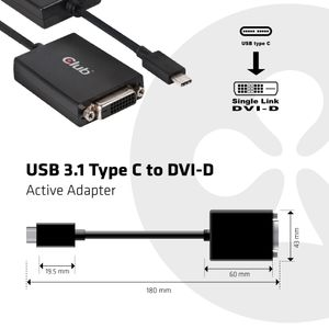 CLUB 3D USB 3.1 Type C to DVI-D Active Adapter (CAC-1508)