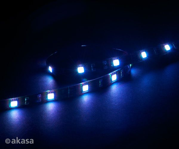 "AKASA ""Vegas M"" Magnetic LED Strip Blå 50 cm, 15x LEDs, Flexible, Molex 4 pin, 12V, Power Adapter Cable (AK-LD05-50BL)"