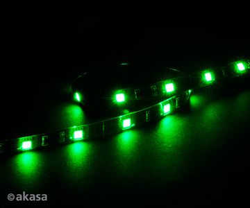 "AKASA ""Vegas M"" Magnetic LED Strip Grønn 50 cm, 15x LEDs, Flexible, Molex 4 pin, 12V, Power Adapter Cable (AK-LD05-50GN)"