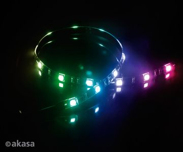 "AKASA ""Vegas M"" Magnetic LED Strip Light 50 cm, 15x LEDs, Flexible, Molex 4 pin, 12V, Power Adapter Cable (AK-LD05-50RB)"