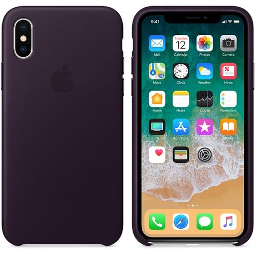 APPLE iPhone X Leather Case - Dark Aubergine (MQTG2ZM/A)
