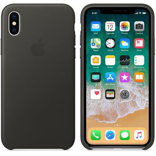 APPLE iPhone X Leather Case - Charcoal Gray (MQTF2ZM/A)