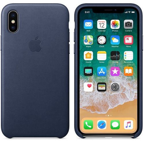APPLE iPhone X Leather Case - Midnight Blue (MQTC2ZM/A)