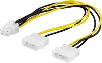 DELTACO Adapterkabel 2x4-pin til 6-pin PCI-Express,  25cm (SSI-45)
