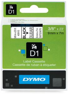 DYMO D1 9mm Tape Black/ Clear (S0720670)
