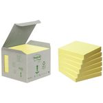 Notes Post-it 654 Gul 76x76mm 100% genbrug Tårn med 6 blokke