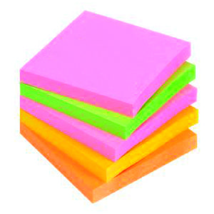 POST-IT Notes 654S-N Super Sticky 76x76 mm Neon Ass. Pk.5 (654SN)