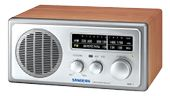 "SANGEAN WR-1, FM/AM radio, 3"" 7W speaker, silver/ walnut"