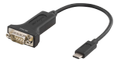 DELTACO USB-C to COM port adapter, RS-232, 1xDE9 Male, 0,2m, black