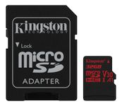 KINGSTON 32GB microSDHC Canvas React 100R/70W U3 USH-I V30 A1 Card with SD adapter (SDCR/32GB)