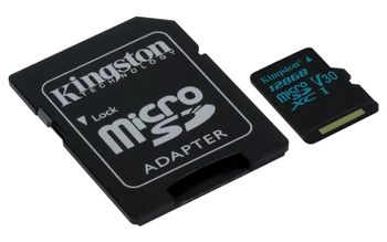 KINGSTON 128GB microSDXC Canvas Go 90R/45W U3 UHS-I V30 Card + SD Adapter (SDCG2/128GB)