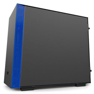 NZXT H200i Midi Tower Sort & Blå Vifter: 1x120mm front, 1x120mm bak, mITX, Tempered Glass (CA-H200W-BL)