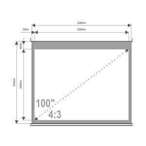 4World Projection screen with stand 203x152 (100'', 4:3) Matt White (08143)