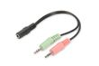 ASSMANN Electronic Audio Headset adapter cable, 3,5mm stereo(4-Pin),  F/M/M, 0,2m, bl