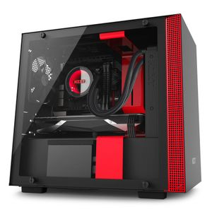 NZXT H200i Midi Tower Sort & Rød Vifter: 1x120mm front, 1x120mm bak, mITX, Tempered Glass (CA-H200W-BR)