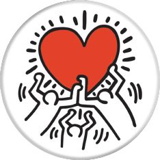 POPSOCKETS 3 Figures Holding A Heart Holder og stativ Premium Keith Haring (101541)