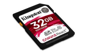 KINGSTON 32GB SDHC Canvas React 100R/70W CL10 UHS-I U3 V30 A1 (SDR/32GB)