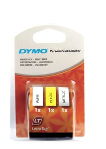 DYMO S0721790 91240 LetraTag Tape assorted 3-pack [12mm x 4m adhesive Green-Blue-Black] (S0721790)