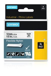 DYMO RHINO TAPE NYLON 12MM/3.5M BLACK ON WHITE IN SUPL (S0718100)