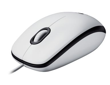 LOGITECH Corded Mouse M100 White For Desktops (910-001603)