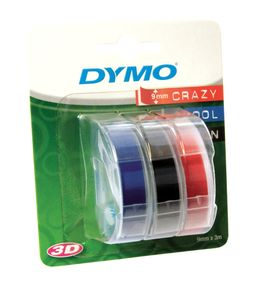 DYMO 3D Tape / 9mm x 3m / White Text / 3 Color Tape (S0847750)