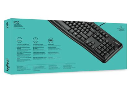 LOGITECH K120 Wired Keyboard, Black (US) (920-002508*10)
