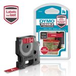 DYMO D1 tape Extra Strong 12mmx3m white/red (1978366 $DEL)