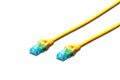 DIGITUS Premium CAT 5e UTP patch cable, Length 0.5m, Color yellow
