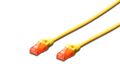 DIGITUS CAT 6 U-UTP PATCH CABLE CU. PVC LENGTH 0.25M COLOR YELLOW CABL