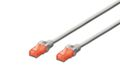 DIGITUS CAT 6 U-UTP PATCH CABLE CU. PVC LENGTH 0.25M COLOR GREY CABL
