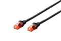 DIGITUS CAT 6 U-UTP PATCH CABLE CU. PVC LENGTH 0.25M COLOR BLACK CABL
