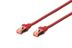 DIGITUS Patchkabel RJ45 S/FTP Cat6 0.25m rot Hebelschutz