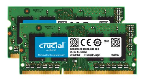 CRUCIAL DDR3 SO-DIMM 1600MHz 8GB KIT 2 x 4GB, 1600Mhz (PC3-12800),  CL11, 204pin, 1.35V/ 1.5V (CT2KIT51264BF160B)