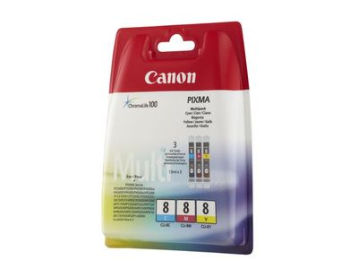 CANON CLI-8C/ M/ Y ink cartridge cyan, magenta and yellow standard capacity combopack blister without alarm (0621B029)