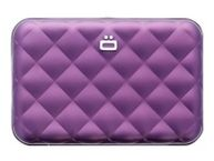 ÖGON Quilted Button Card holder metal lock quilted alu Purple