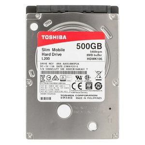 TOSHIBA Internal HDD Toshiba L200 2.5'' 500GB SATA3 5400RPM 8MB 7mm (HDWK105UZSVA)