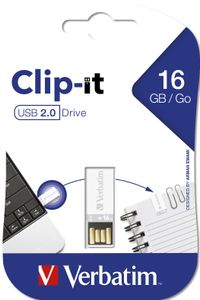 VERBATIM USB DRIVE 2.0 16GB CLIP-IT WHITE EXT (43952)