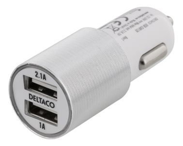DELTACO USB Car charger 2port 2,1A White (USB-CAR120)